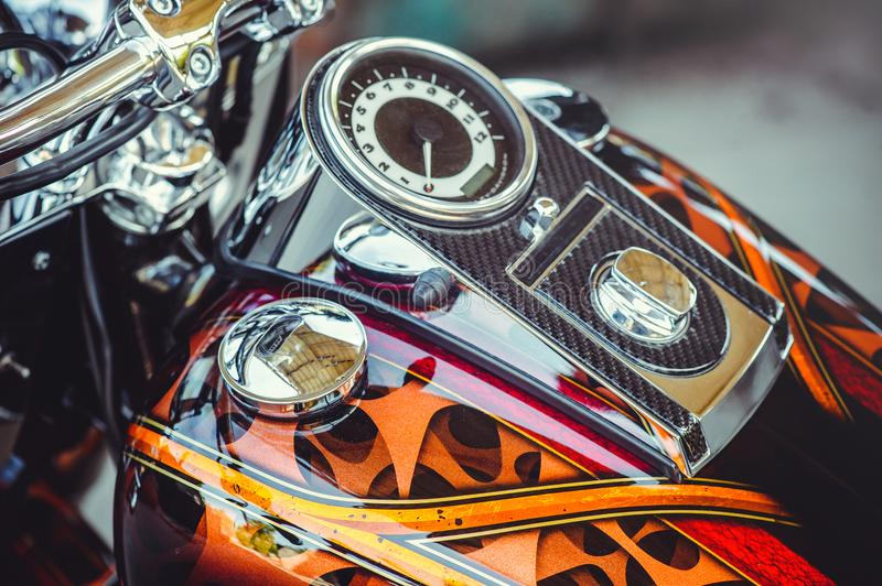 Beautiful Speedometer Of A Classic Motorcycle In The Frame Of The ...