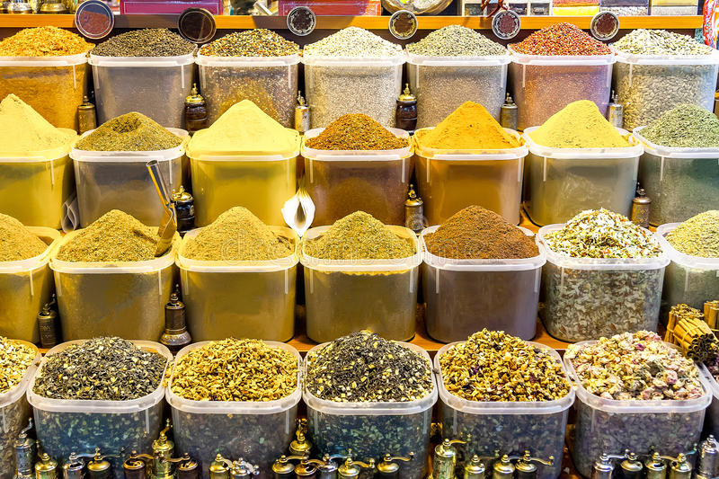 Beautiful spice containers on the market in Istanbul. royalty free stock photography
