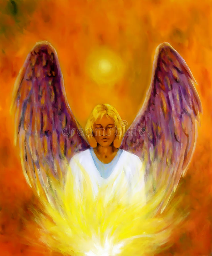 Beautiful spiritual Angel. Painting and graphic effect. stock photos