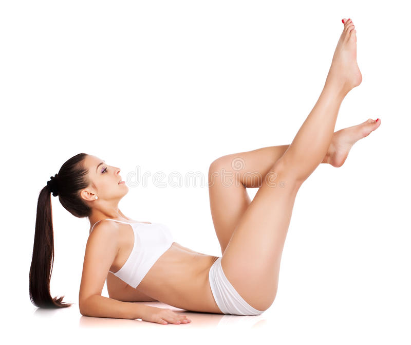 Beautiful sportswoman isolated on white stock photo