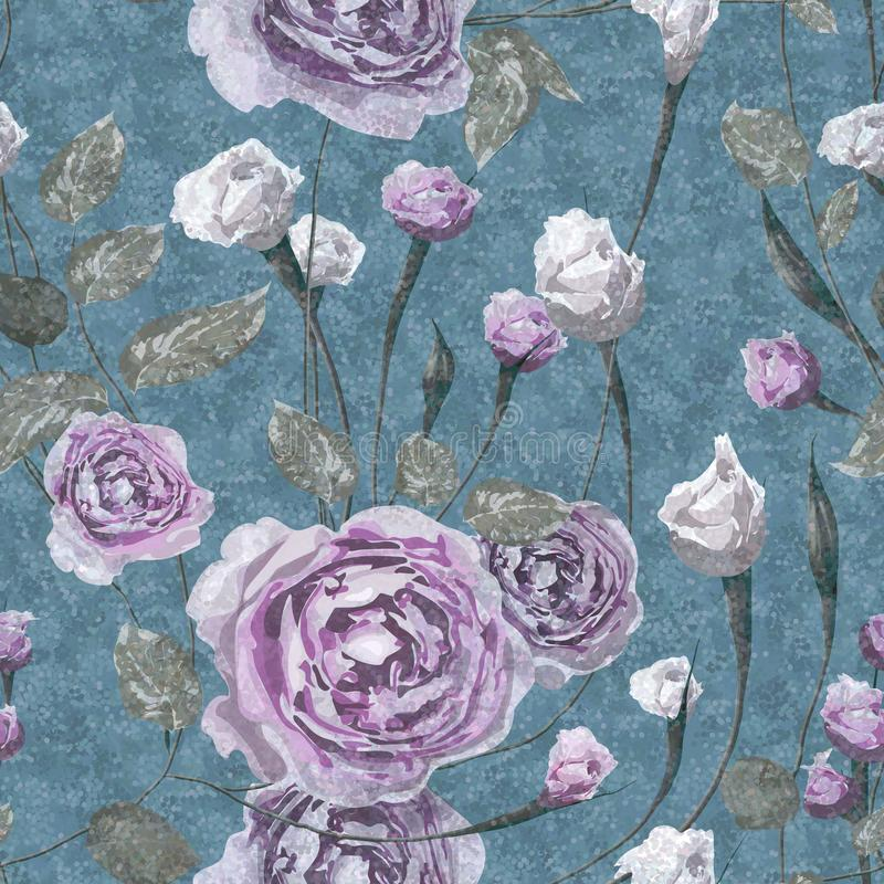 Lilac and white rose flowers with leaves on grunge foam blue background. vector illustration