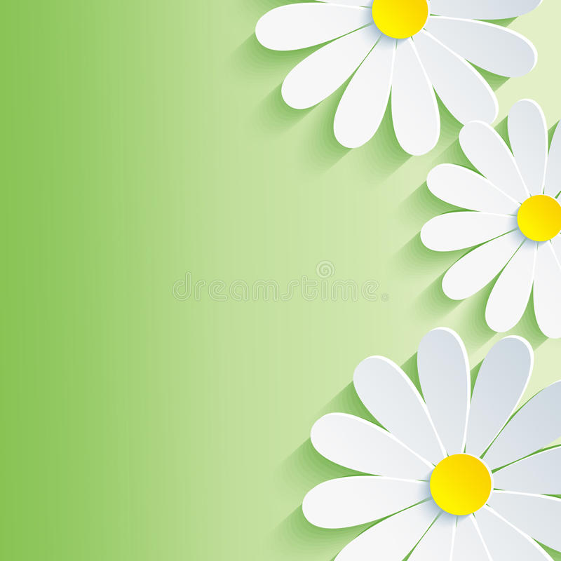 Beautiful spring abstract background, 3d flower ch stock illustration