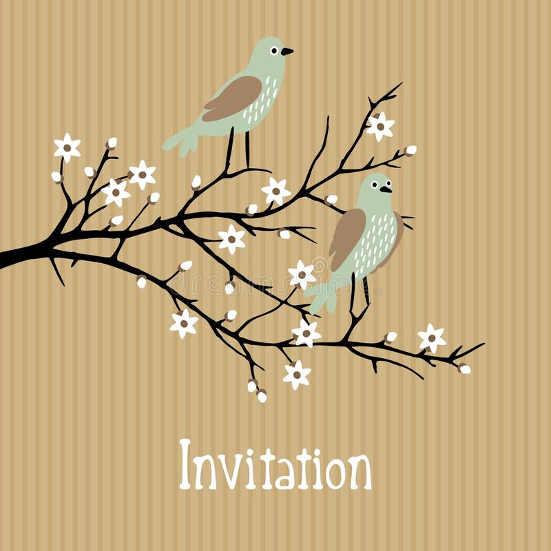 Beautiful spring background with birds on cherry. Romantic beautiful spring background with birds on cherry blossom branch, birthday, wedding card, invitation stock illustration
