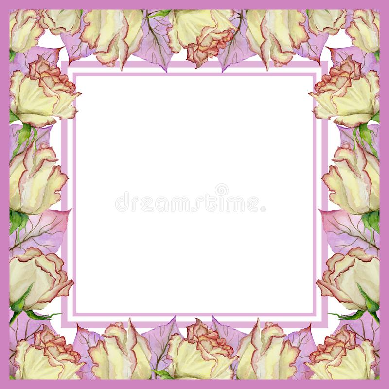 Beautiful spring border made of fresh rose flowers and leaves with veins. Square pink frame with white background for a text. Watercolor painting. Hand painted vector illustration