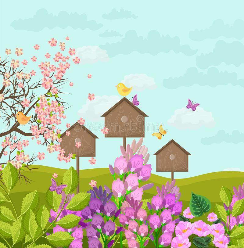 Beautiful spring card with bird houses Vector stock illustration