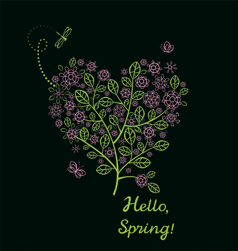 Beautiful spring card with blossoming decorative lacy tree with pink cherry-tree flowers in heart shape vector illustration