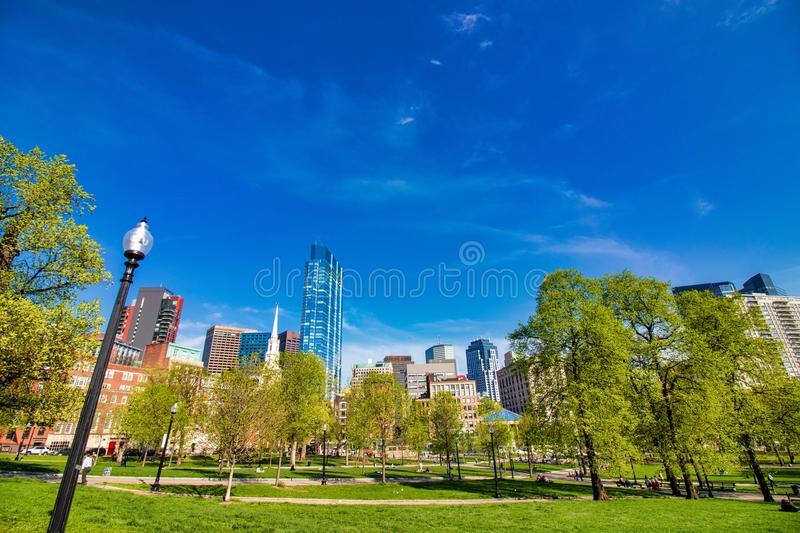 Beautiful spring day at Boston Common Park Massachusetts. Nice view at sunny day with blue sky royalty free stock image