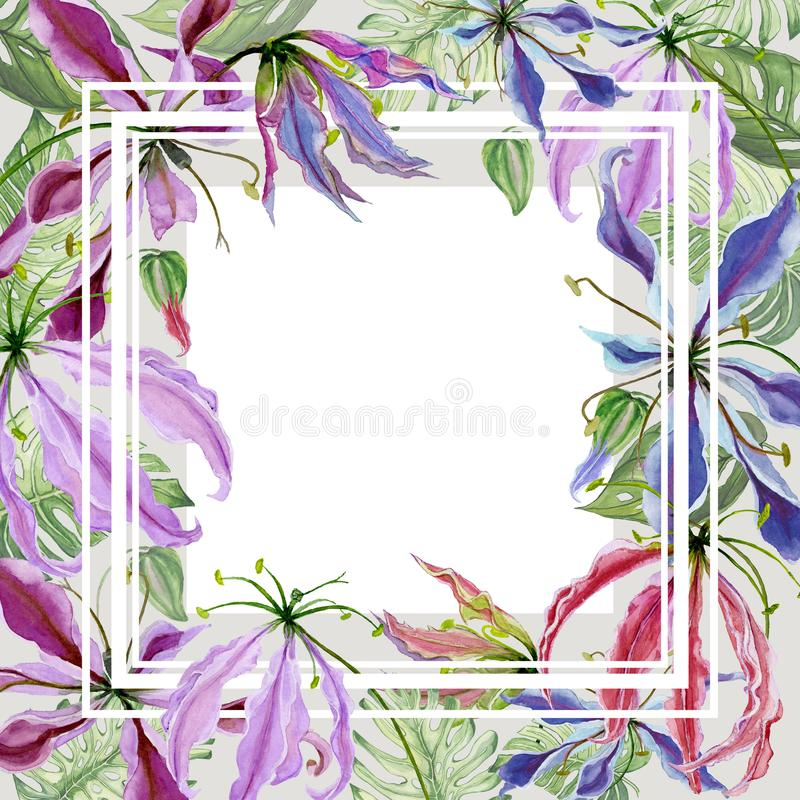 Beautiful spring floral border. Gloriosa lily flowers with exotic leaves on gray background. Square frame with white space for a text. Watercolor painting vector illustration