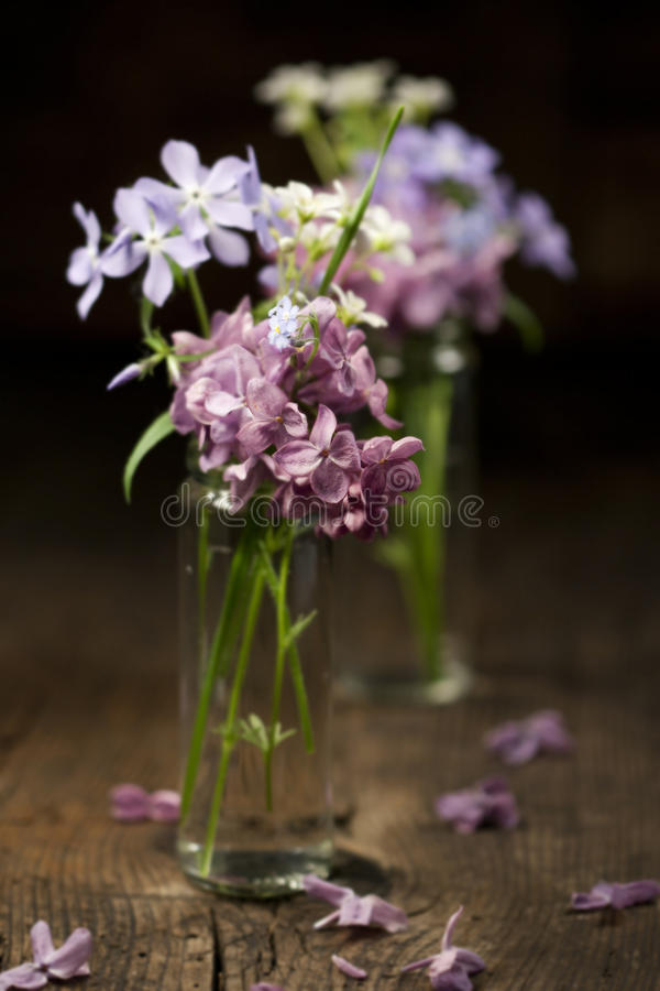 Beautiful spring flowers. In a vase on wooden background stock images