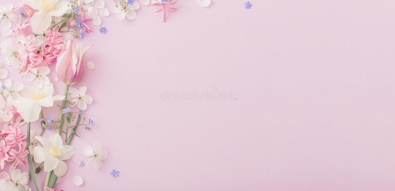Beautiful spring flowers on paper background. The beautiful spring flowers on paper background stock photo