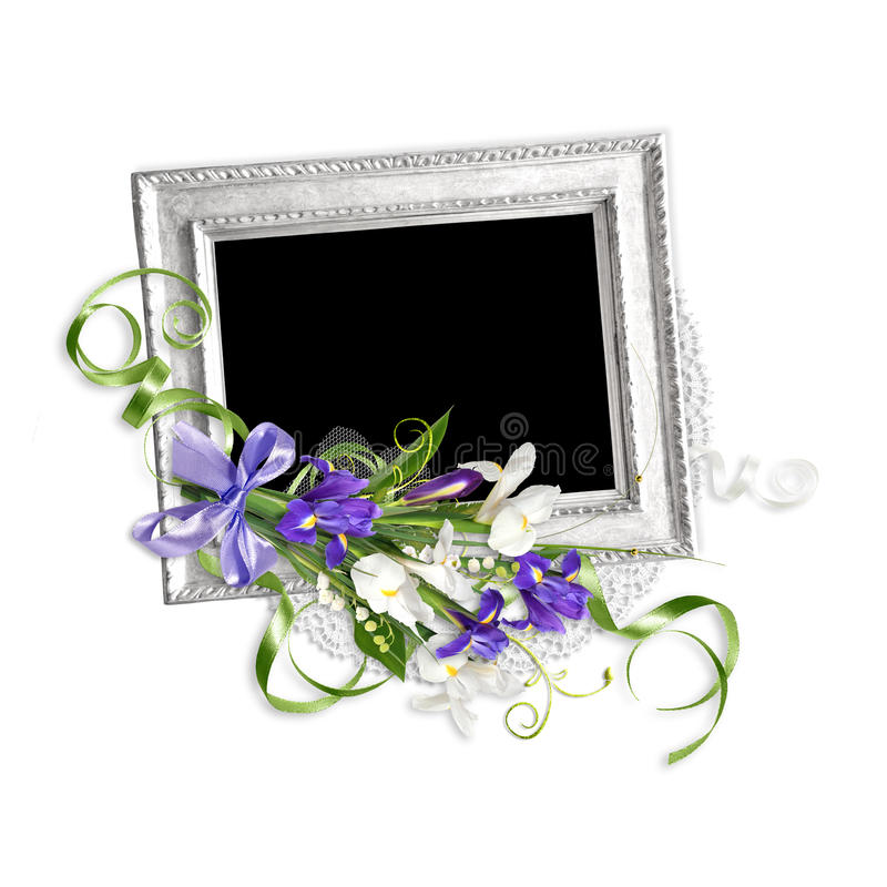 Beautiful spring frame with irises on the old paper stack royalty free stock image