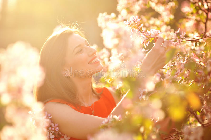 Beautiful Spring Girl. With flowers stock image