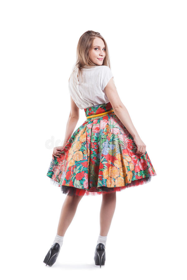Beautiful spring girl posing isolated on white stock images