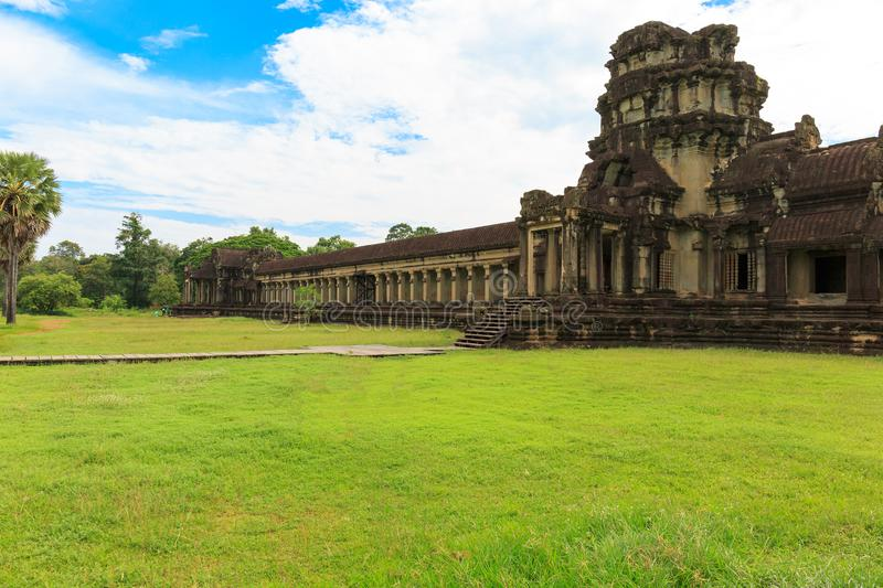 Green Grass Outside of Angkor Wat Temple in Cambodia royalty free stock photo