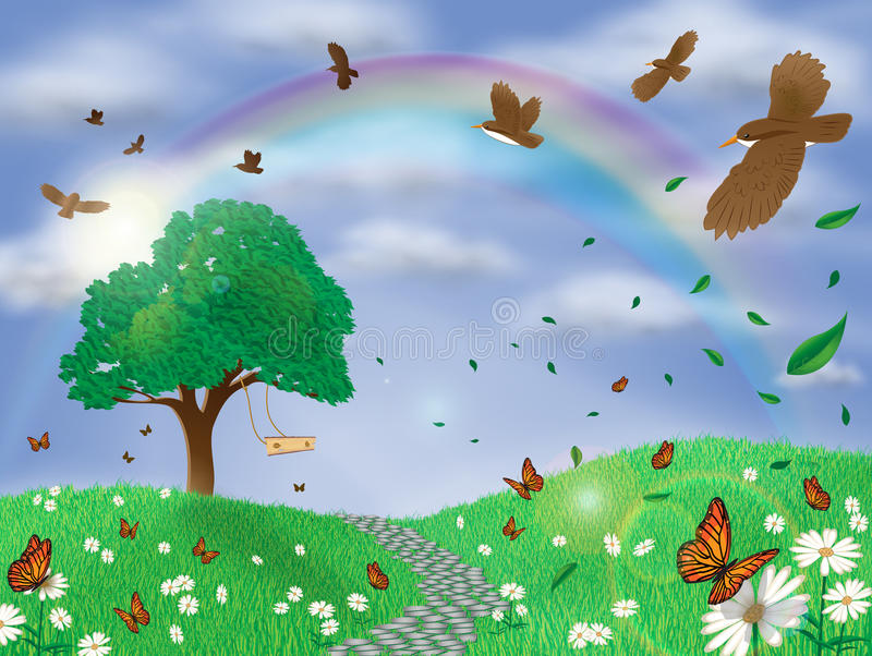 Beautiful spring landscape background stock illustration