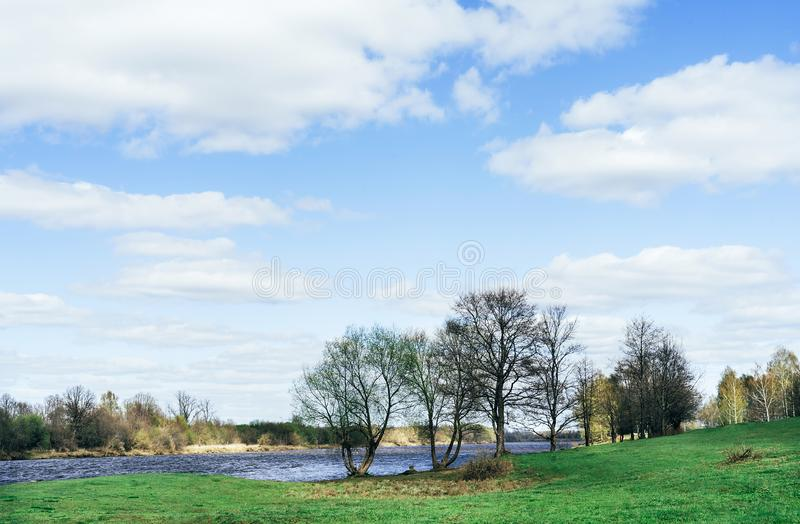 Beautiful spring landscape. Blue river and trees on on a sunny day after melting snow. stock image