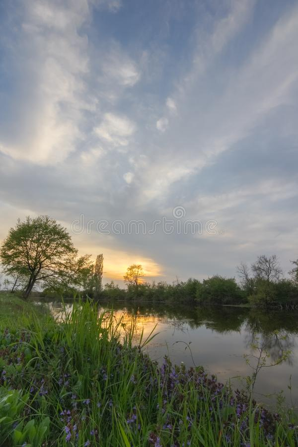 Beautiful spring landscape on the river. Meadow, atmosphere and dramatic sky.tif. Colorful sunset over calm river Bosut, Vinkovci, Croatia royalty free stock photo