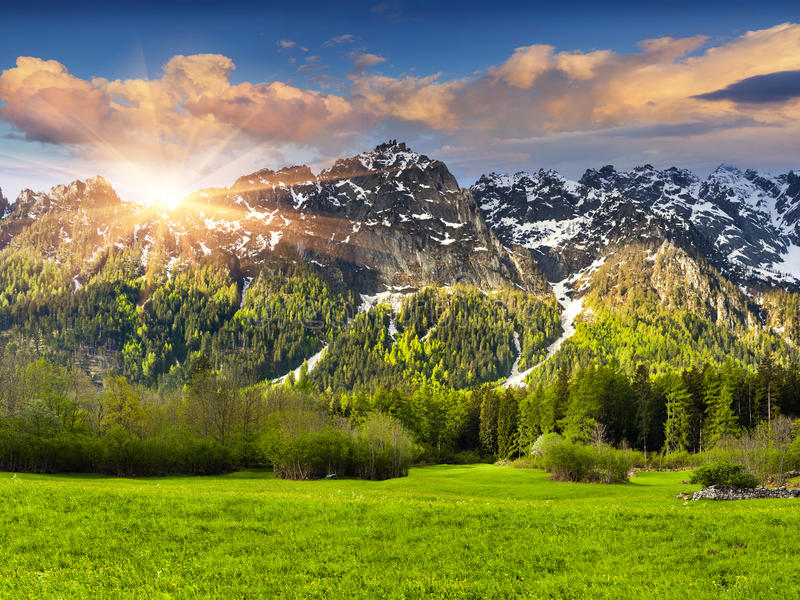 Beautiful spring landscape in the Swiss Alps, Bregaglia. Beautiful spring landscape in the Swiss Alps, Bregaglia, Switzeland, Europe royalty free stock photography