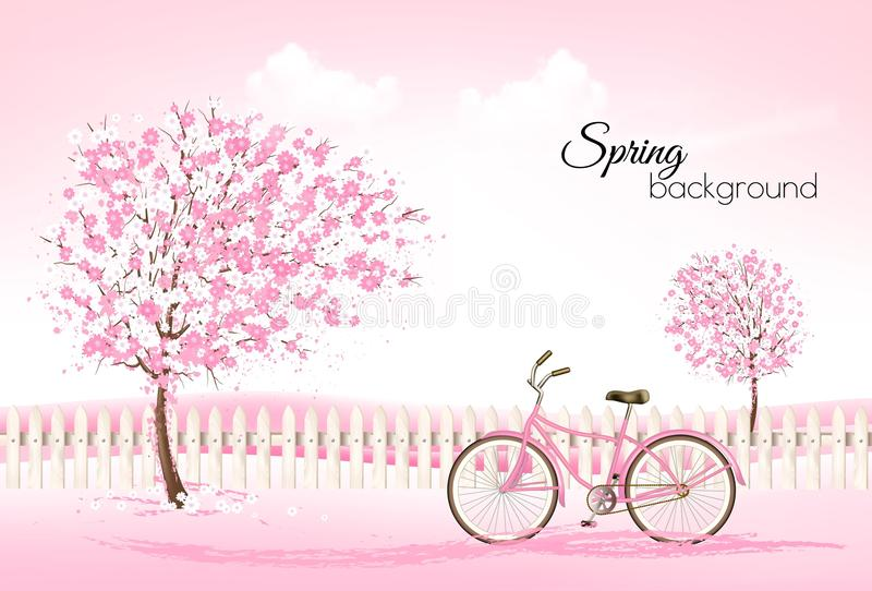 Beautiful spring nature background with a blossoming trees stock illustration