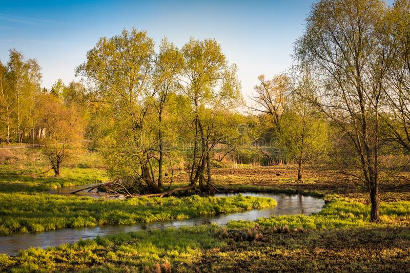 Beautiful spring russian landscape near the large suburb of Moscow royalty free stock photos