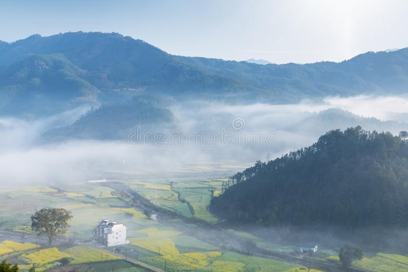 Beautiful spring scenery in wuyuan stock photo