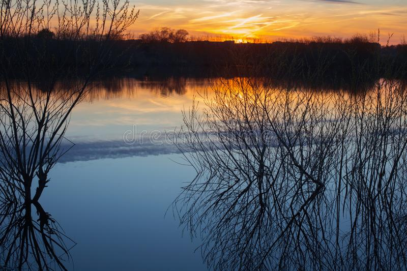 Spring spill at sunset. The beautiful spring spill at sunset stock images
