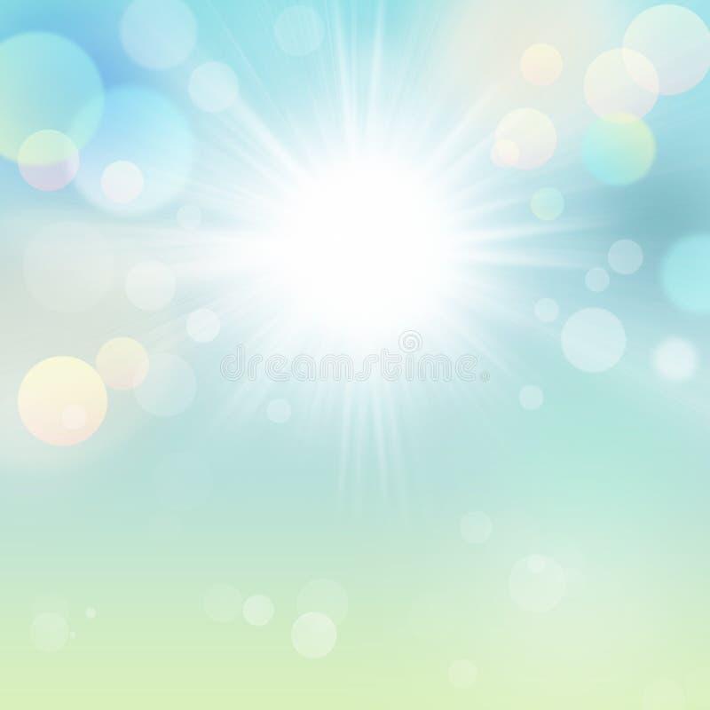 Beautiful Spring Summer Sun Blue Green Bokeh Abstract Nature Background vector illustration