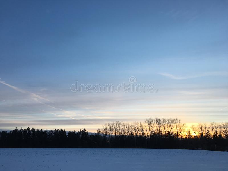 Spring Sunrise Over Farmers Field stock photos