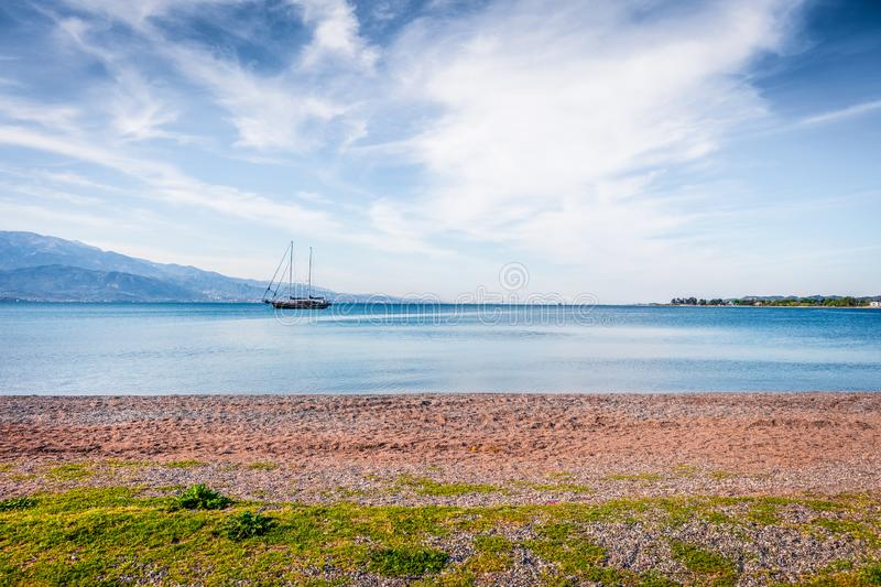 Beautiful spring view of the Nafpaktos shore. Fantastic morning scene of the Gulf of Corinth, Greece, Europe. Traveling concept. Background. Beauty of royalty free stock image