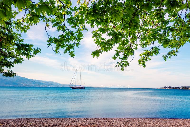 Beautiful spring view of the Nafpaktos shore. Fantastic morning scene of the Gulf of Corinth, Greece, Europe. Traveling concept. Background. Beauty of royalty free stock photography