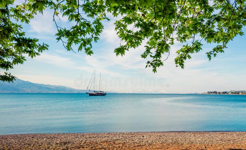 Beautiful spring view of the Nafpaktos shore. Fantastic morning scene of the Gulf of Corinth, Greece, Europe. Traveling concept. Background. Beauty of stock image