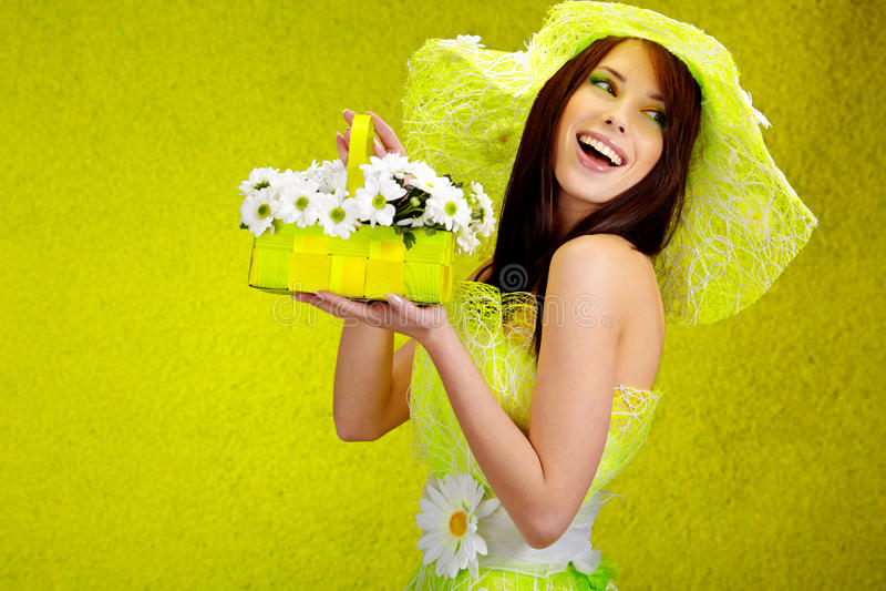 Beautiful spring woman. Portrait. green concept stock photos