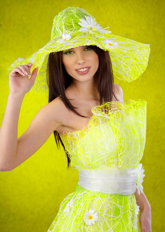 Beautiful spring woman. Portrait. green concept royalty free stock photo
