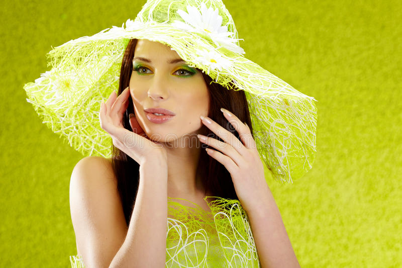 Beautiful spring woman portrait. Green concept royalty free stock images