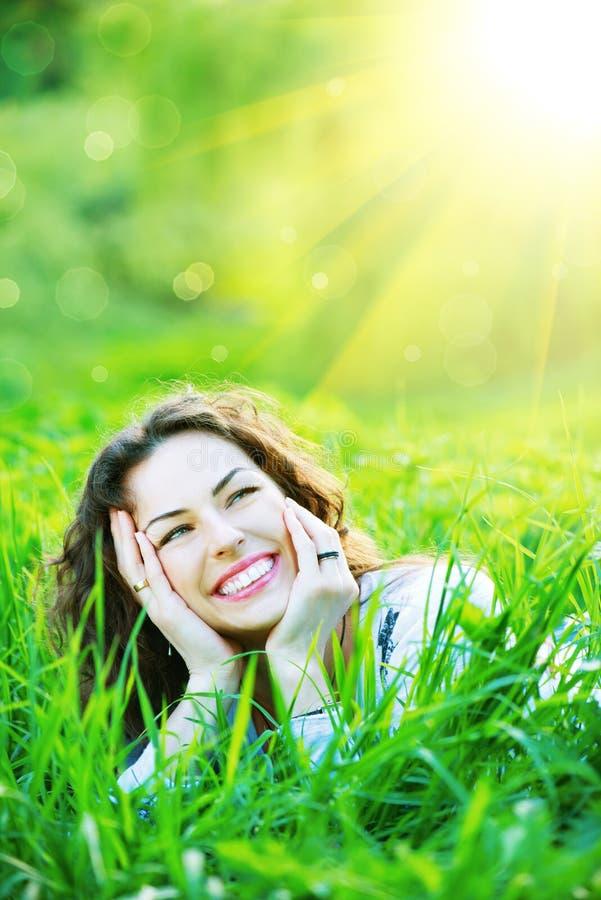 Beautiful Spring Young Woman. Outdoors Enjoying Nature stock photos