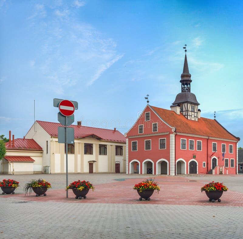 Beautiful square of Bauska, Latvia. Medieval buildings.  stock image