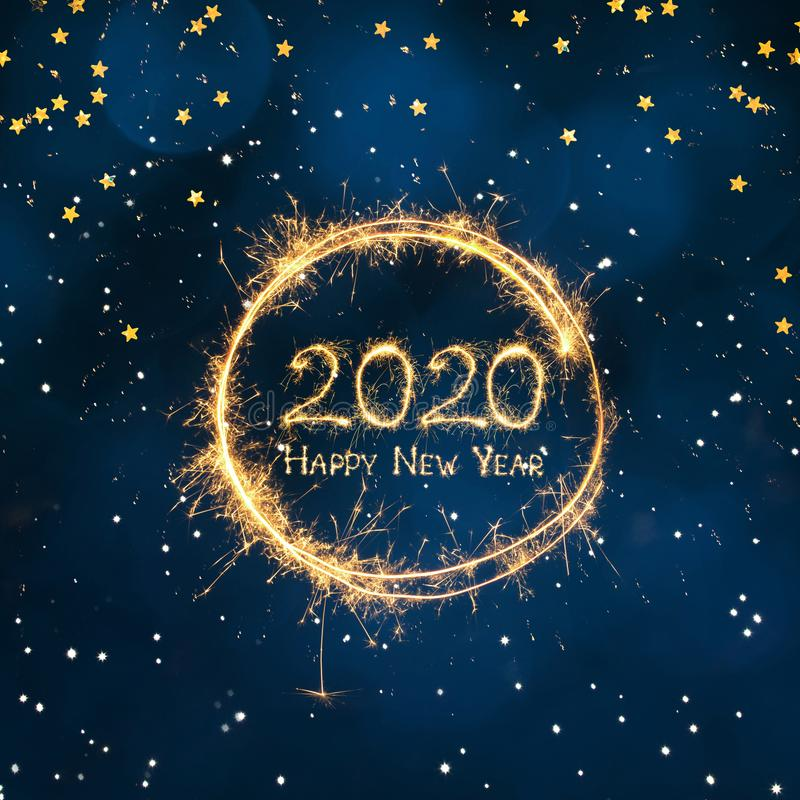 Beautiful Square Greeting card Happy New Year 2020 stock image