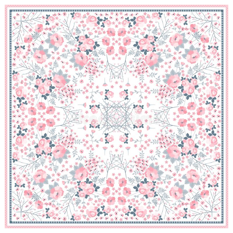 Beautiful square pattern for shawl with tender pink flowers on white background. Vector illustration royalty free illustration