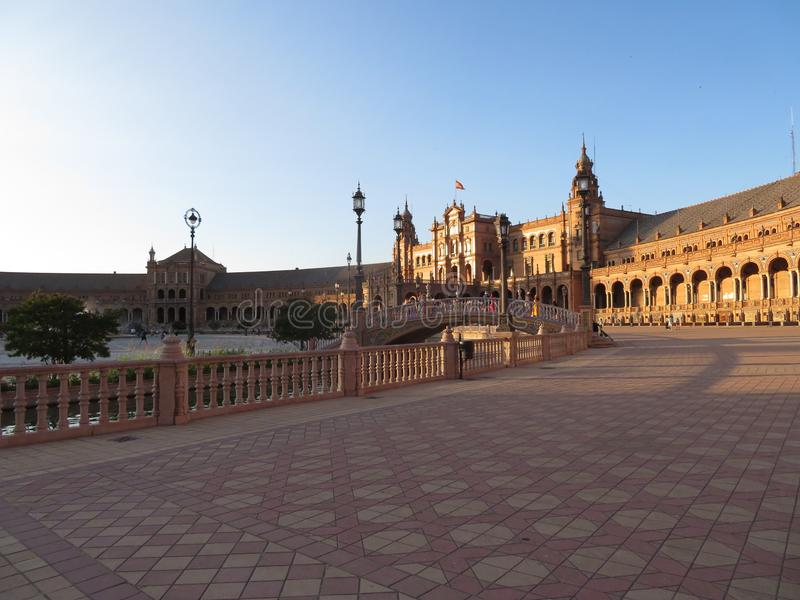 Beautiful square of Seville with a few ancient monuments and resistant creation royalty free stock photos