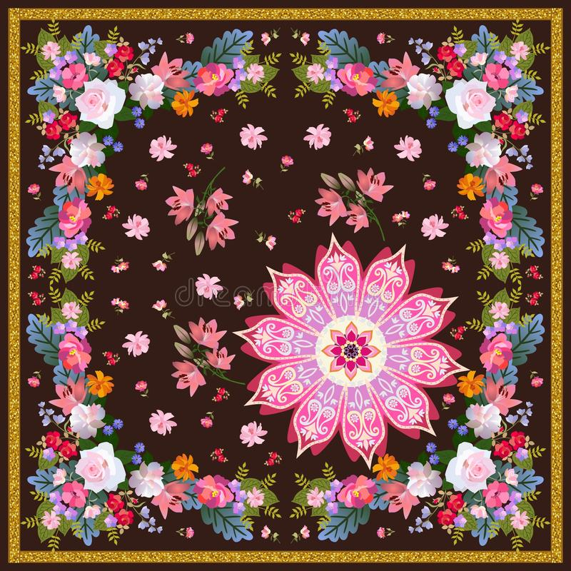 Beautiful square shawl in folk style with mandala flower, floral garland and golden frame. Indian , russian motives. royalty free illustration