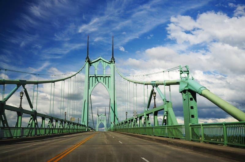 Beautiful st. johns historic bridge. In portland stock image