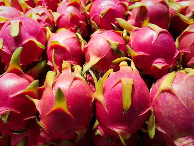 A beautiful stack of delicious pink dragon fruit; a sweet, popular favorite in Asian diets. Such an unusual looking fruit is the shocking pink dragon fruit royalty free stock photo