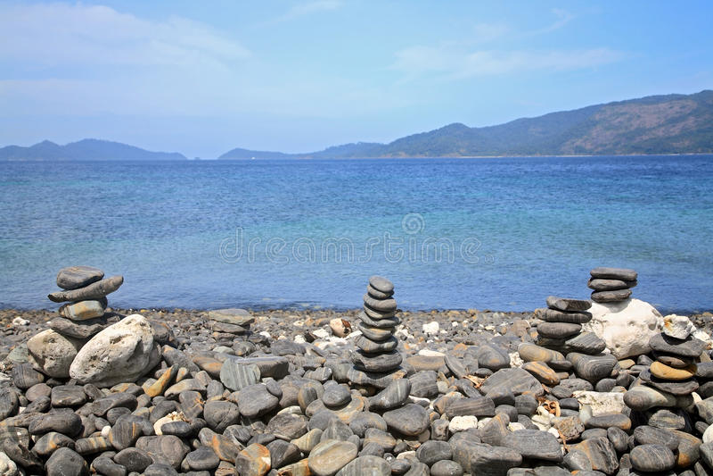 Beautiful stack pebbles on Koh Hin Ngam near Koh Lipe royalty free stock image