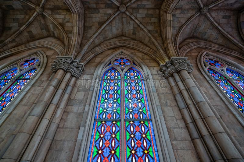 Beautiful stained glass window. leaded Coloured glass window in a Church. stock photography