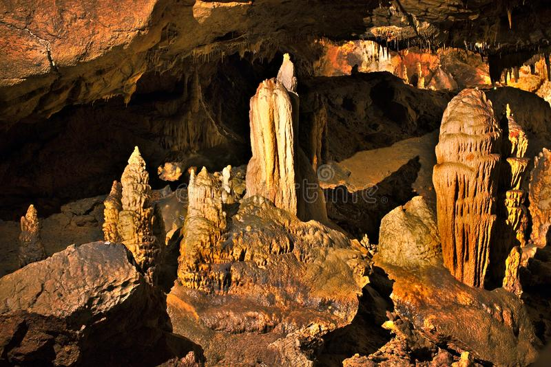 Beautiful stalactites from cave Baradla in Aggtelek, Hungary stock photography