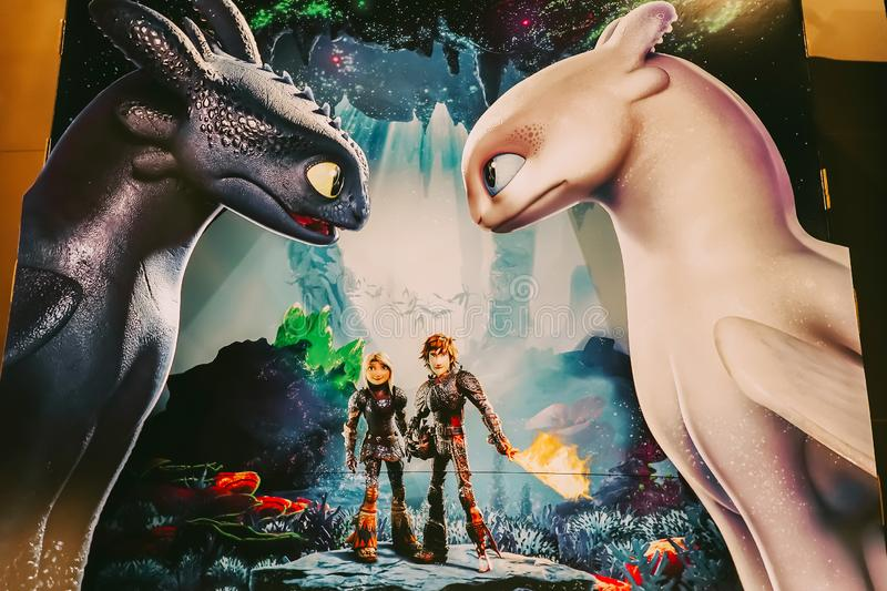 A Beautiful standee of a movie How To Train Your Dragon Hidden World display at the cinema to promote the movie royalty free stock photos
