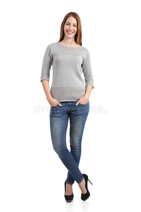 Beautiful standing woman model posing royalty free stock image
