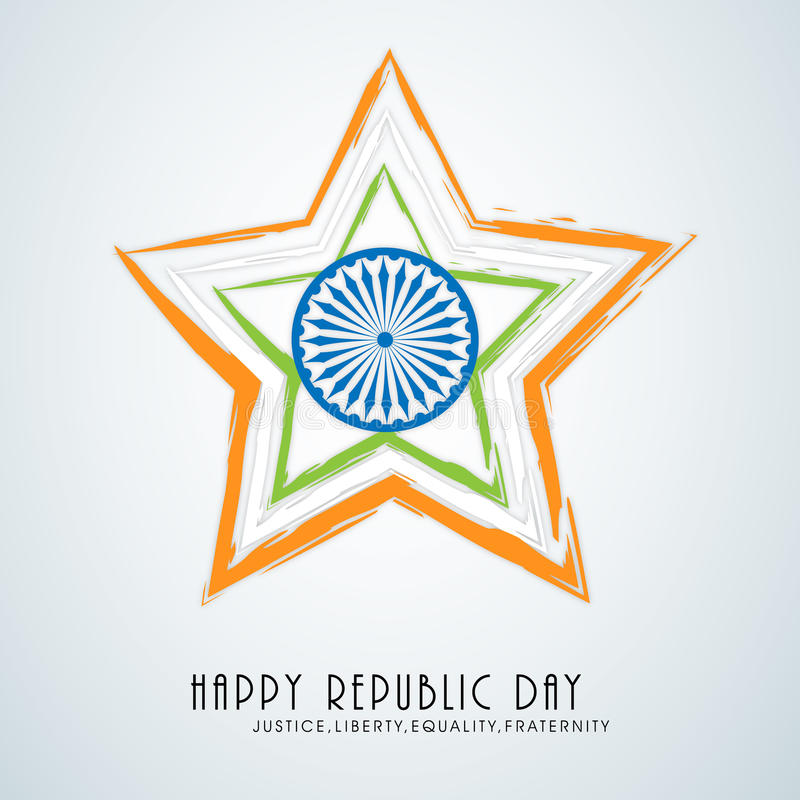 Beautiful star with Ashoka Wheel for Indian Republic Day. royalty free illustration