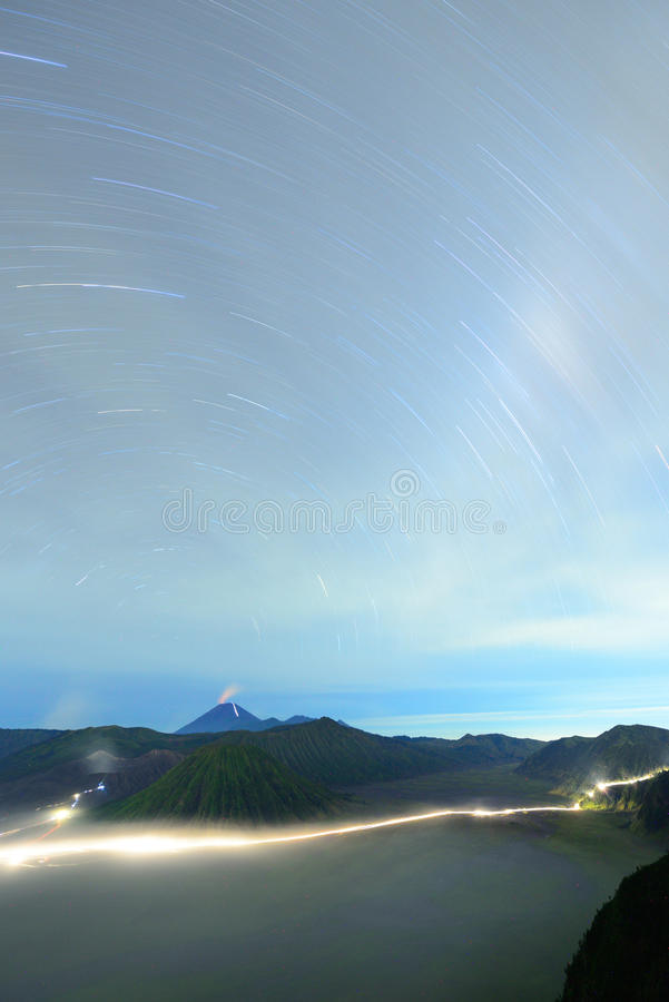 Beautiful star trail image over Bromo volcano, Indonesia. Shot with long exposure stock images
