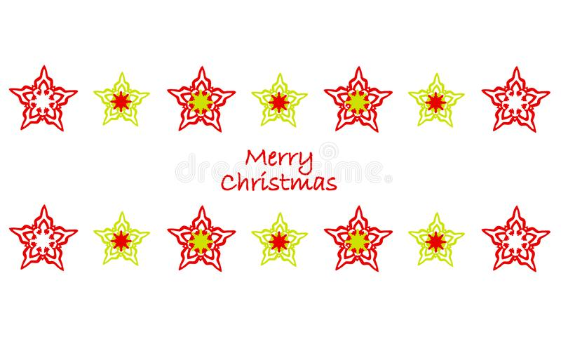 Beautiful stars and snowflakes. Merry Christmas design. royalty free illustration